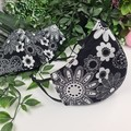 Flowers Black and White - Face Cover (Mask) - 3 Layers - Unisex