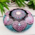 Mandala Stone. Hand Painted. Blended Pink and Blue. Heart design. 11cm round