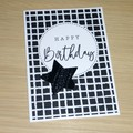 Happy Birthday card - Black & white with star