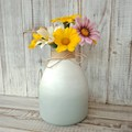 Ombre handpainted glass vase, upcycled glass bottle, dusty green/white