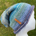 Knitted slouchy beanie blue green ladies or mens merino slouchy beanie colourful
