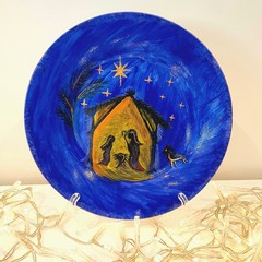 Christmas Nativity- Hand painted personalized plates (keepsakes)