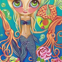 """Aquatic Mermaid"" Art Print by Jaz Higgins - Beach Fantasy Girls Room Poster"