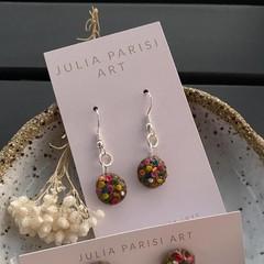 """""""Smarties Chocolate Cookie"""" Handmade Drop Earrings"""