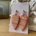 Large Statement PEACH Shimmer Reversed Teardrops Handmade Polymer Clay Earrings