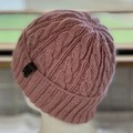 Arcadia Cable Pattern Handmade Knitted Beanie - Salmon