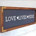 """HANDPAINTED SIGN """"Love Lives Here"""" with Colonial style wooden frame, family sign"""