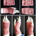 Fingerless gloves, wrist warmer in old pink with wooden button - FREE SHIPPING