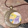 Half moon bronze pendant