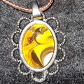 Oval silver set pendant