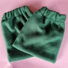 Dark green fleece stirrup covers