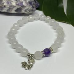 Chalcedony & Amethyst Fox Charm Stretchy Bracelet