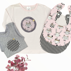 4 piece set - Pink Fox - Top - Singlet - Bibs - Size 00