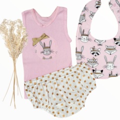 3 piece set - Pink Fox - Singlet -Nappy Cover - Bib - Size 000