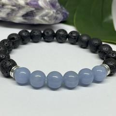 Angelite & Lava Stone Stretchy Bracelet | Diffuser Bracelet