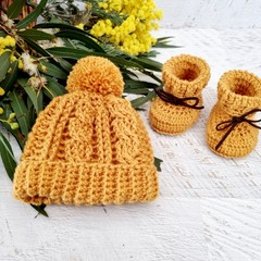 Mustard Handmade Crochet Knitted Newborn Cable Baby Beanie Hat & Booties