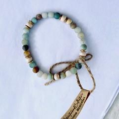 Amazonite Beaded Diffuser Bracelet | Dainty Natural Gemstone Aromatherapy Jewell