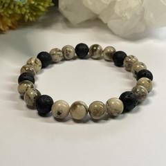 Zebradorite & Lava Stone Stretchy Mens Bracelet | Diffuser Bracelet