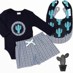 4 piece set - Cactus - Shorts - Onesie - Bibs - size 00
