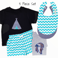 5 piece set - Teepee - Singlet - Tshirt - Shorties - Bibs