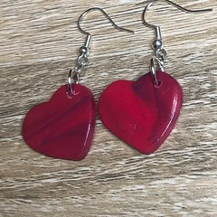 Polymer Clay Hot pink heart earrings with a turquoise details