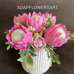 Flower arrangement proteas made from pour and melt soap base