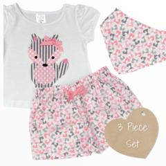 3 piece set - Fox - Tshirt - Shorts - Bandanna Bib - Size 00