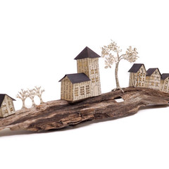 Tiny Town book sculpture - Tiny Town on driftwood - with a Town Hall - Book art