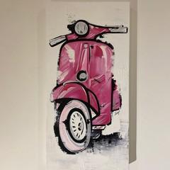 PINK VESPA - Acrylic Painted Mixed Media Canvas
