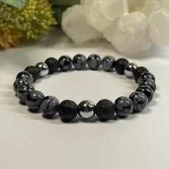 Snowflake Onsidian & Lava Stone Stretchy Mens Bracelet | Diffuser Bracelet