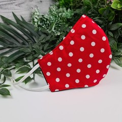 Spotty Red and White - Face Cover (Mask) - 3 Layers - Unisex