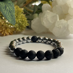 Lava Stone & Hematite Stretchy Mens Bracelet | Diffuser Bracelet