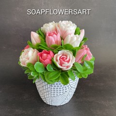 Flower arrangement tulips made from pour and melt soap base.