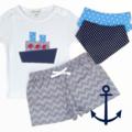 4 piece set- Ship - Shorties - Tshirt - Bibs - size 2