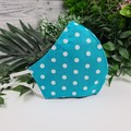 Spotty Teal and White - Face Cover (Mask) - 3 Layers - Unisex