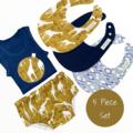 5 piece set-Mustard Giraffe-Nappy Cover-Singlet-Bibs