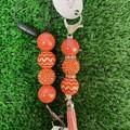 Orange Bubblegum beads keyring or lanyard