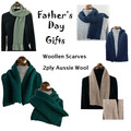 For the man in your life. Soft woollen scarves,  2ply wool.