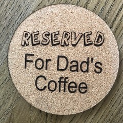 Father's Day Engraved Circle Cork Coasters