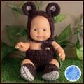 Teddy Bear outfit for 22cm Miniland doll