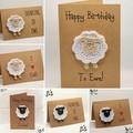 Handmade Greeting Card with Crochet Sheep