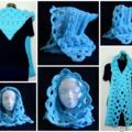 Hooded scarf in aqua blue - FREE SHIPPING
