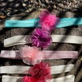 Elastic headbands with ribbon flowers