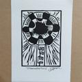 """Illuminated Tree 2"" original acrylic hand pulled linocut print on paper"