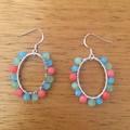 Pastel rainbow beaded oval hoop earrings
